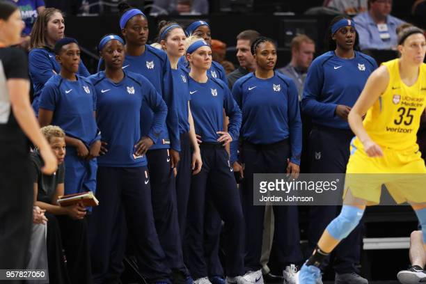 Carlie Wagner of the Minnesota Lynx looks on during the game against the Chicago Sky during a preseason game on May 12 2018 at Target Center in...