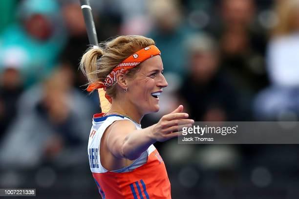 Carlien Dirkse Van Den Heuvel of Netherlands celebrates scoring her sides ninth goal during the FIH Womens Hockey World Cup Pool A game between...