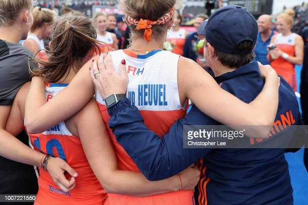 Carlien Dirkse Van Den Heuvel of Netherlands with Kelly Jonker of Netherlands and Alyson Annan of Netherlands during the Pool A game between...