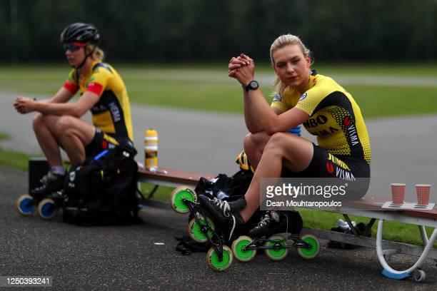 Carlijn Achtereekte and Joy Beune look on during a training session with Team JumboVisma at the IJs en Skeelerclub Lindenoord on June 17 2020 in...