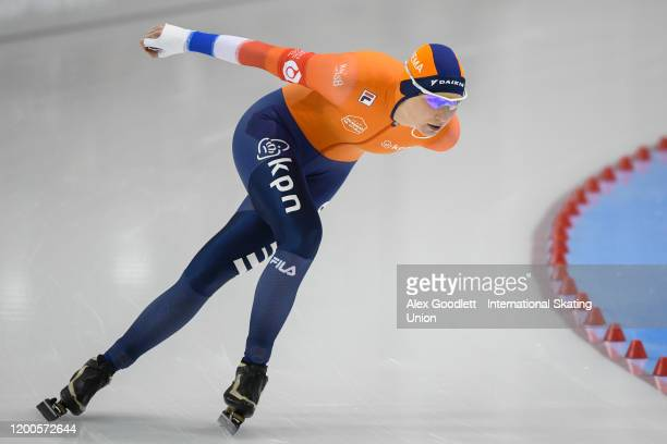 Carlijn Achtereekte of the Netherlands competes in the ladies' 3000 meter during the ISU World Single Distances Speed Skating Championships on...