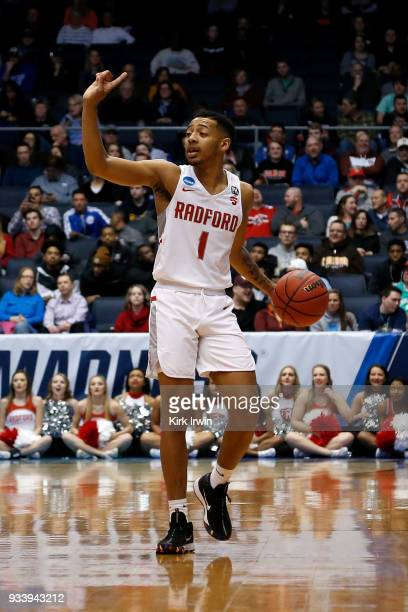Carlik Jones of the Radford Highlanders dribbles the ball during the game against the LIU Brooklyn Blackbirds at UD Arena on March 13 2018 in Dayton...
