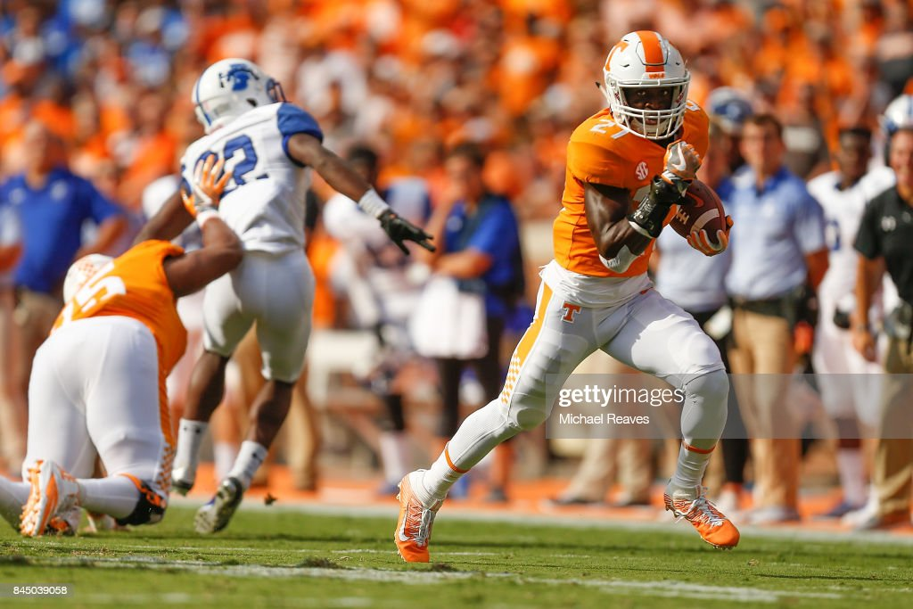 Carlin Fils-Aime #27 of the Tennessee Volunteers runs for a touchdown during the first half of the game against the Indiana State Sycamores at Neyland Stadium on September 9, 2017 in Knoxville, Tennessee.