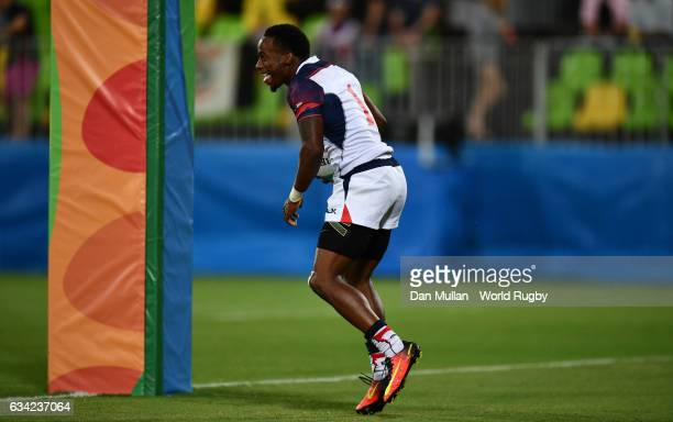 Carlin Isles of the United States runs in to score a try during the Men's Rugby Sevens placing match between the United States and Brazil on Day five...