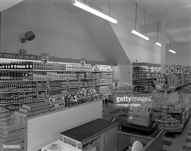 Carlines Self Service Store Mexborough South Yorkshire 1960 On the shelves can be seen many products some of which have disappeared from the shelves...