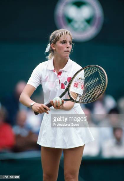 Carling Bassett of Canada in action against Andrea Temesvari of Hungary in their Women's Singles third round match during the Wimbledon Lawn Tennis...