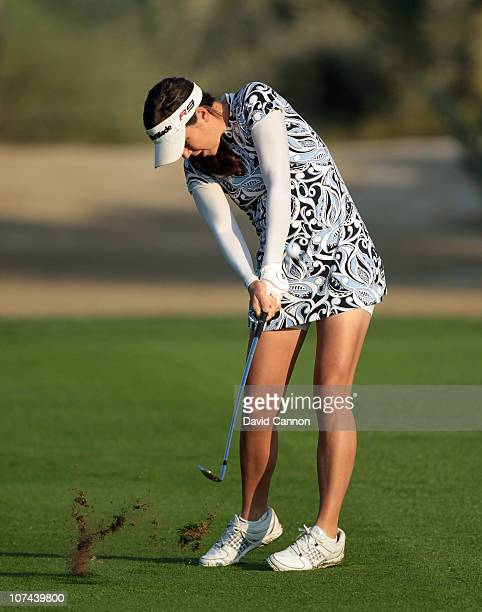 Carling Coffing of the USA a diabetic and winner of the Golf Channel 'Big Break' playsh her third shot at the 10th hole during the second round of...