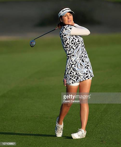 Carling Coffing of the USA a diabetic and winner of the Golf Channel 'Big Break' plays her third shot at the 10th hole during the second round of the...