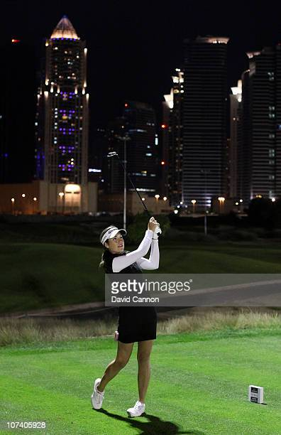 Carling Coffing of The USA during the Omega Dubai Ladies Masters Challenge Match on the par 3 course after the ffirst round of the Omega Dubai Ladies...