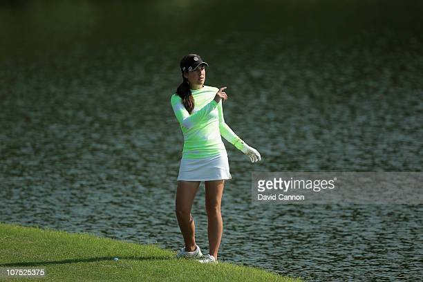 Carling Coffing of the USA who suffers from Diabetes the winner of the Golf Channel 'Big Break' show plays her second shot at the 1st hole during the...
