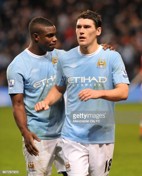 Carling Cup Quarter Final Manchester City v Arsenal City of Manchester Stadium Manchester City's Micah Richards and Gareth Barry after the game