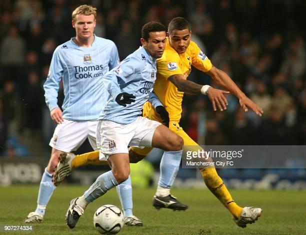 Carling Cup Quarter Final Manchester City v Tottenham Hotspur City of Manchester Stadium Manchester City's Deiberson Geovanni and Tottenham Hotspur's...