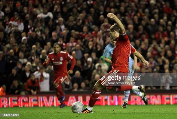 Carling Cup Semi Final Second Leg Liverpool v Manchester City Anfield Liverpool's Steven Gerrard scores his side's first goal of the game from the...