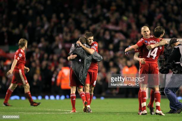 Carling Cup Semi Final Second Leg Liverpool v Manchester City Anfield Liverpool's Craig Bellamy and Steven Gerrard embrace as they celebrate victory...