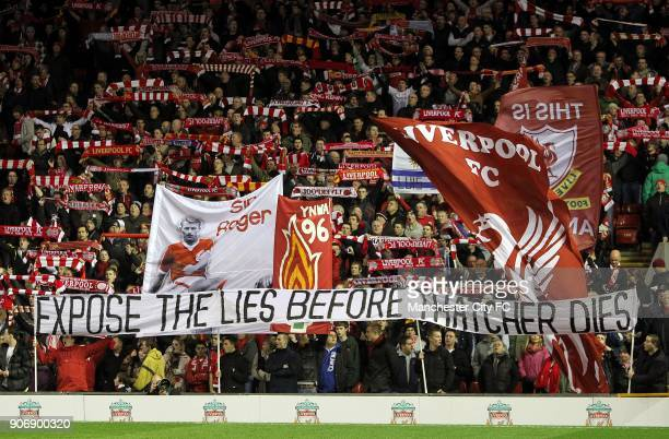 Carling Cup Semi Final Second Leg Liverpool v Manchester City Anfield Liverpool fans hold up a banner aimed at former Prime Minister Margaret...