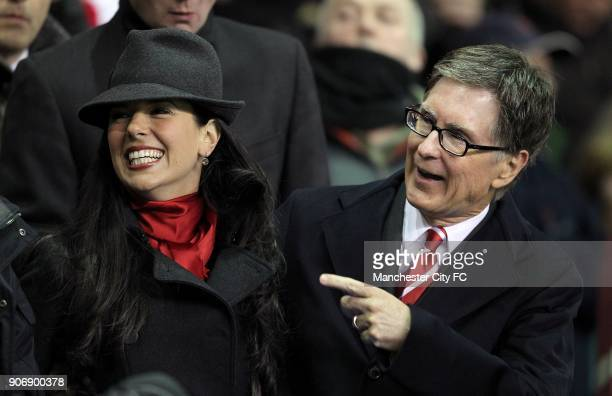 Carling Cup Semi Final Second Leg Liverpool v Manchester City Anfield Liverpool's owner John W Henry and Linda Pizzuti in the stands prior to kickoff