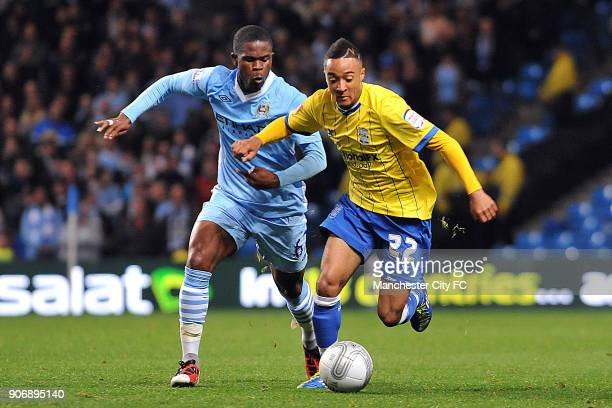 Carling Cup Third Round Manchester City v Birmingham City Etihad Stadium Manchester City's Abdul Razak battles for the ball with Birmingham City's...