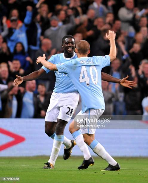 Carling Cup Third Round Manchester City v Fulham City Of Manchester Stadium Manchester City's Kolo Toure celebrates scoring his sides second goal of...