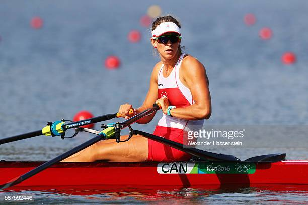 Carling Zeeman of Canada competes during the Women's Single Sculls Quarterfinals on Day 4 of the Rio 2016 Olympic Games at the Lagoa Stadium on...