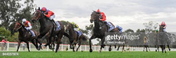Carlingford ridden by Fred Kersley wins the ClassicBet BM78 Handicap at Seymour Racecourse on April 10 2018 in Seymour Australia