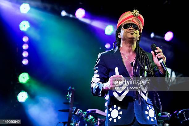 Carlinhos Brown performs on the America stage on Day 2 of the BT River Of Music Festival at Tower of London on July 22 2012 in London United Kingdom