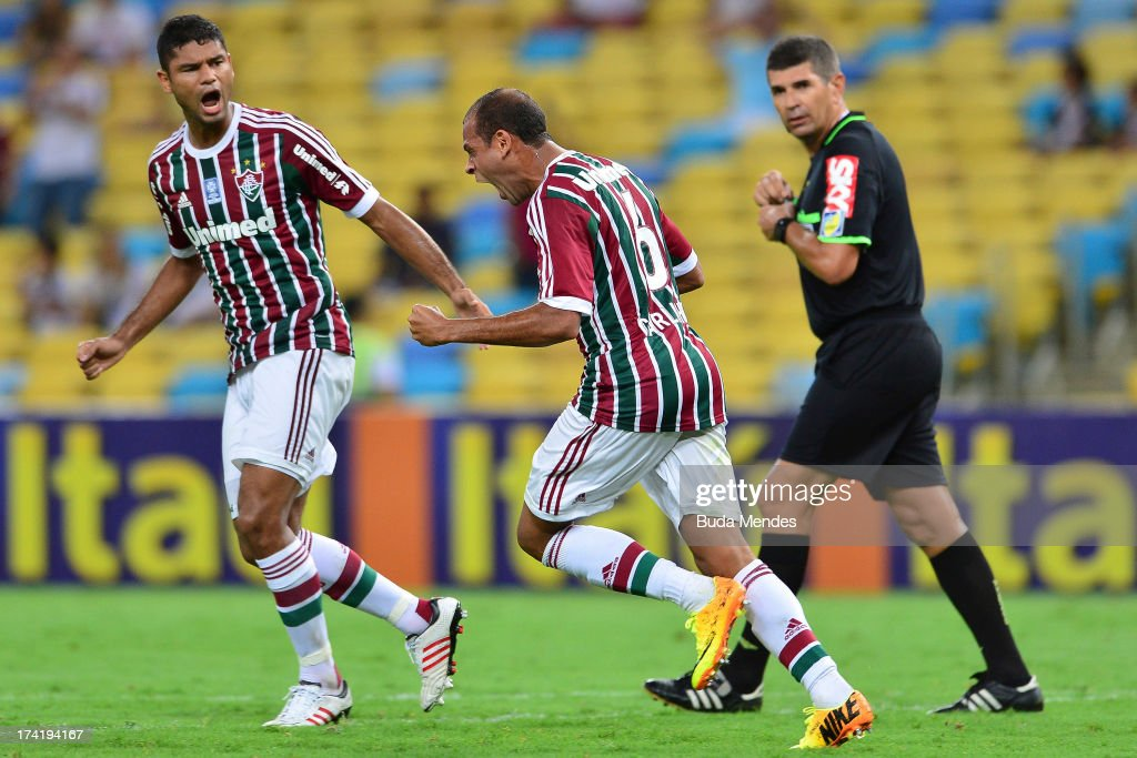 Carlinhos of Fluminense celebrates a gaol against Vasco during a match between Fluminense and Vasco as part of Brazilian Championship 2013 at Maracana Stadium on July 21, 2013 in Rio de Janeiro, Brazil.
