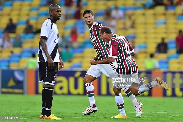 Carlinhos of Fluminense celebrates a gaol against Vasco during a match between Fluminense and Vasco as part of Brazilian Championship 2013 at...