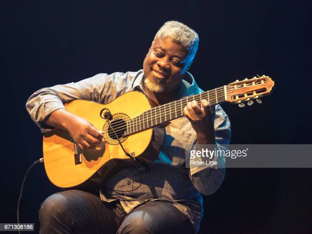 Carlinhos Sete Cordas performs at the Barbican on April 21 2017 in London England