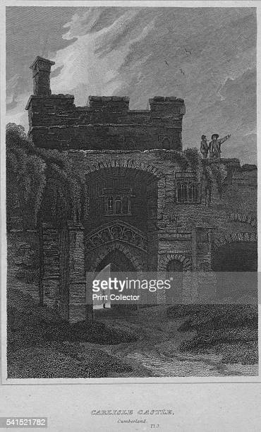 Carlisle Castle Cumberland Pl 3' 1814 From The Border Antiquities of England and Scotland Vol II by Walter Scott Esq [Longman Co London 1814] Artist...