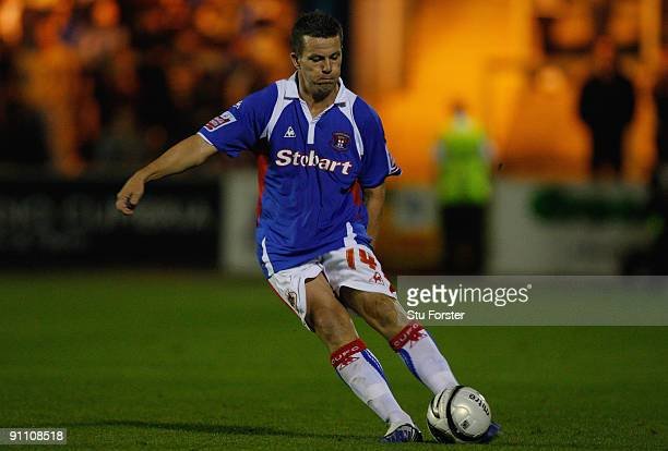 Carlisle player Ian Harte in action during the Carling Cup third round game between Carlisle United and Portsmouth at Brunton Park on September 22...