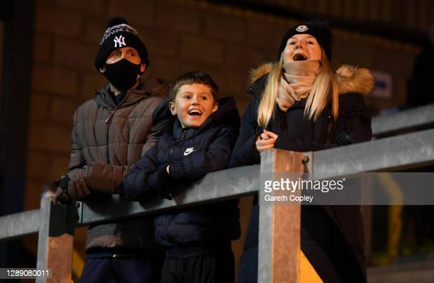 Carlisle United fans celebrate during the Sky Bet League Two match between Carlisle United and Salford City at Brunton Park on December 02, 2020 in...