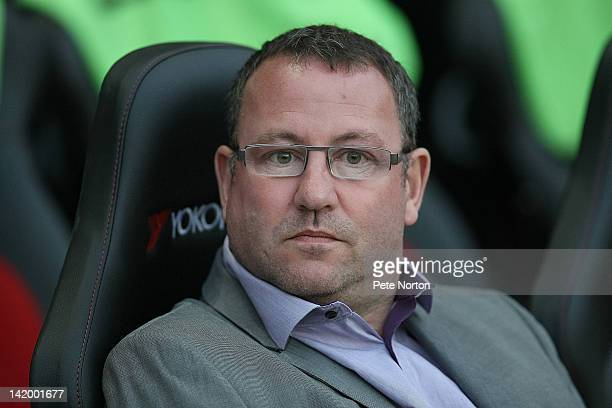 Carlisle United manager Greg Abbott looks on during the League One match between Milton Keynes Dons and Carlisle United at stadium mk on March 27...