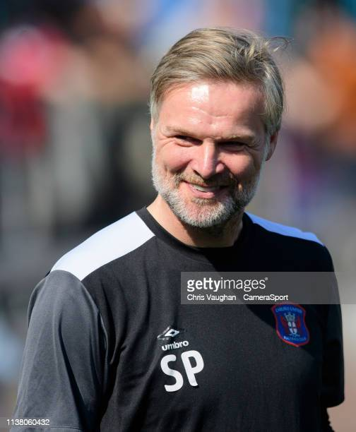 Carlisle United manager Steven Pressley during the Sky Bet League Two match between Carlisle United and Lincoln City at Brunton Park on April 19 2019...
