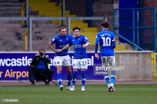 Carlisle United midfielder Callum O'Hare celebrates making it 22 during the Sky Bet League 2 match between Carlisle United and Bury at Brunton Park...