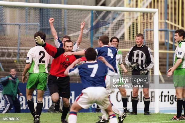 Carlisle United's goalkeeper Jimmy Glass celebrates his winning goal keeping Carlisle United in the league