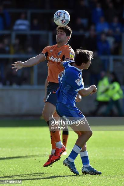 Carlisle's Harry McKirdy and Oldham's Zak Mills in action during the Sky Bet League 2 match between Carlisle United and Oldham Athletic at Brunton...