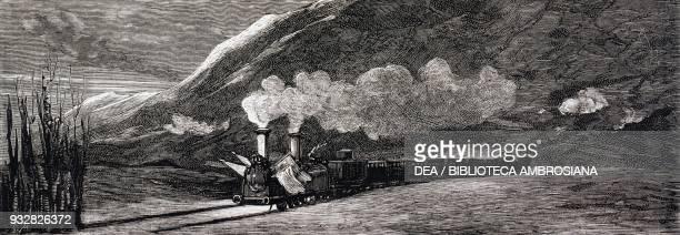 Carlist attack on King Alfonso XII's train in the Conchas de Haro, Spain, Carlist Wars, illustration from La Ilustracion Espanola y Americana...