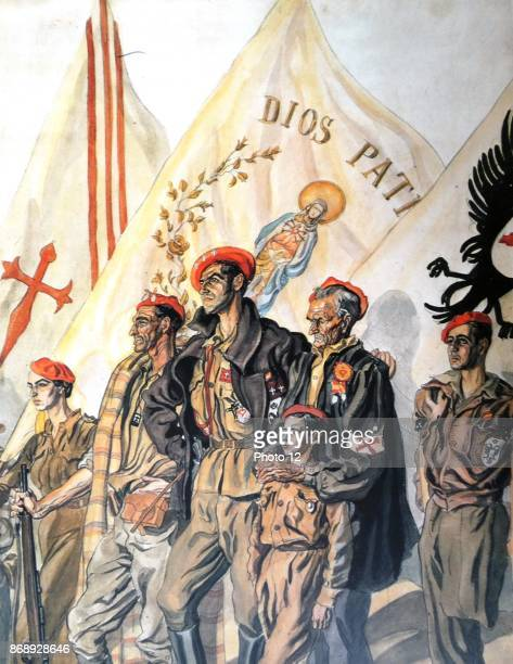 Carlist propaganda illustration of militia with flag saying God and fatherland Carlism is a political movement in Spain seeking the establishment of...