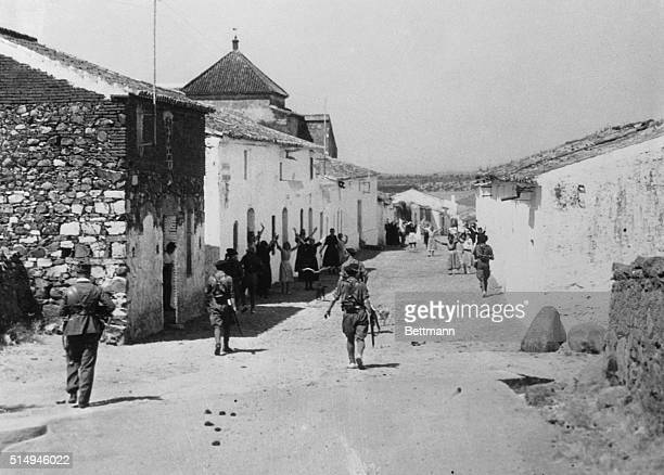 Carlists at scene of rebel victoryWith news from wartorn Spain indicating that Badajoz has fallen into the hands of Fascist Army rebels after a...