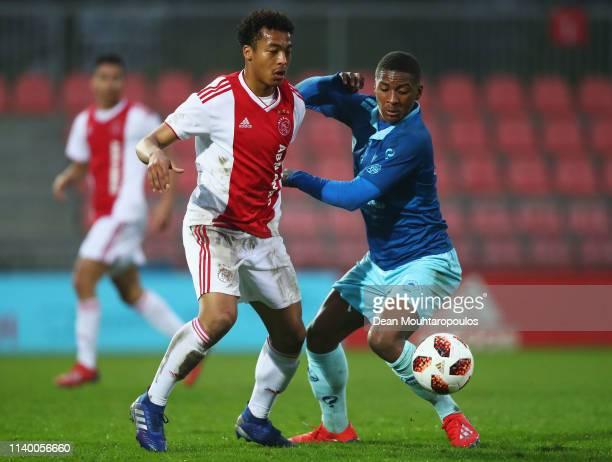 Carlito Fermina of Excelsior battles for the ball with with Nordin Musampa of Ajax during the YOUTH CUP U19 between Ajax U19 and Excelsior U19 at...