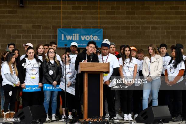 Carlitos Rodriguez speaks as a Parkland survivor with other students from Marjory Stoneman Douglas High School Pittsburgh Columbine as well as...
