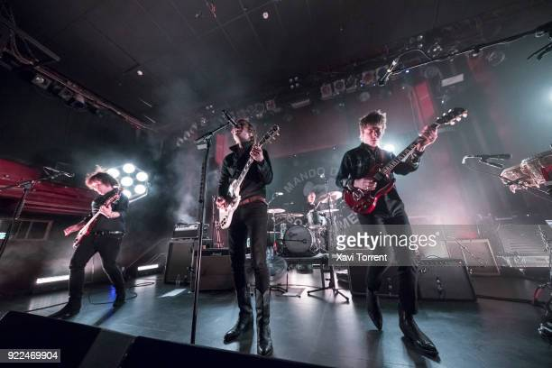 CarlJohan Fogelklou Bjorn Dixgard and Jens Siverstedt of Mando Diao perform in concert at sala Apolo on February 21 2018 in Barcelona Spain