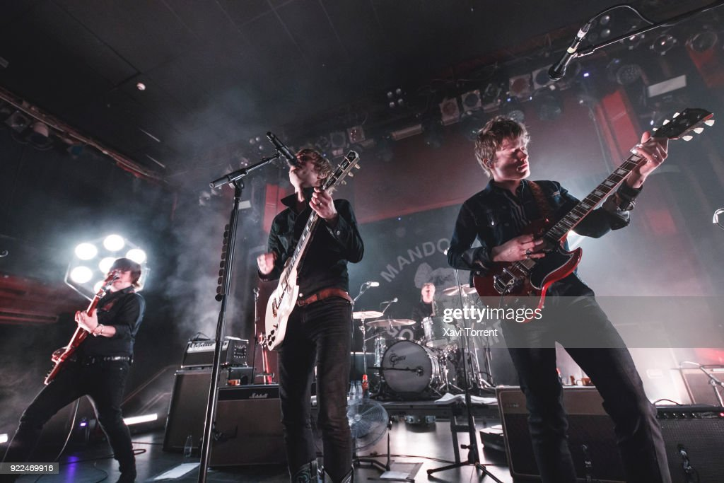 Carl-Johan Fogelklou, Bjorn Dixgard and Jens Siverstedt of Mando Diao perform in concert at sala Apolo on February 21, 2018 in Barcelona, Spain.
