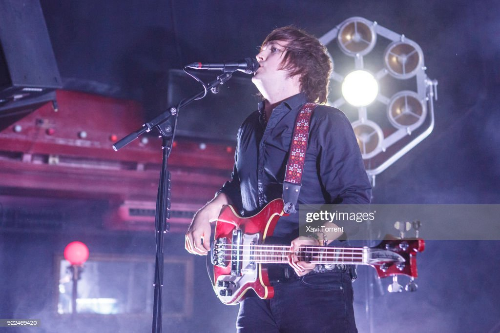 Carl-Johan Fogelklou of Mando Diao performs in concert at Sala Apolo on February 21, 2018 in Barcelona, Spain.