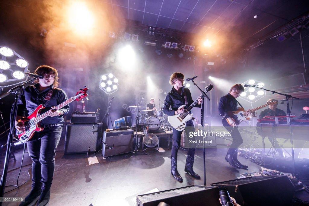 Carl-Johan Fogelklou, Patrik Heikinpieti, Bjorn Dixgard, Jens Siverstedt and Daniel Haglund of Mando Diao perform in concert at Sala Apolo on February 21, 2018 in Barcelona, Spain.
