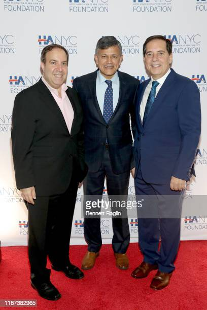 Carlo A Scissura Vijay Dandapani and Fred Grapstein attend The Red Carpet Hospitality Gala Hosted by the Hotel Association Of New York City...