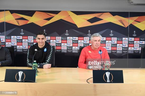 Carlo Ancelotti Alex Meret during the SSC Napoli Training Session/ Press Conference on February 20 2019 in Naples Italy