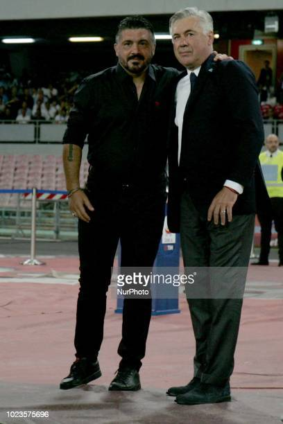 Carlo Ancelotti AND Gennaro Gattuso during the Italian Serie A football SSC Napoli v AC Milan at S Paolo Stadium in Naples on August 25 2018