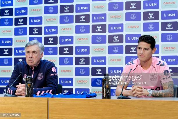 Carlo Ancelotti and James Rodriguez during the Everton press conference at USM Finch Farm on September 10 2020 in Halewood, England.