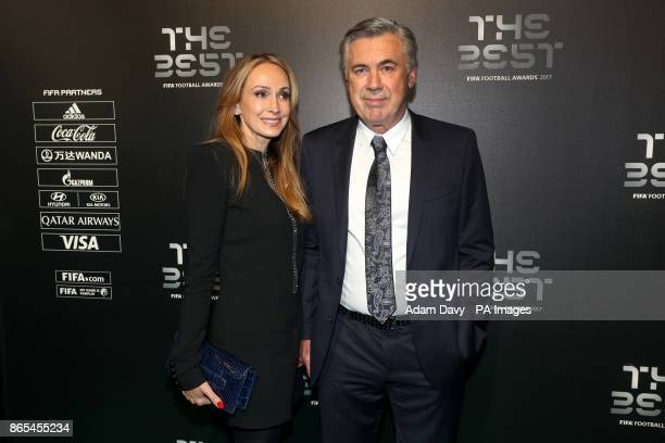 Carlo Ancelotti and Mariann Barrena McClay during the Best FIFA Football Awards 2017 at the Palladium Theatre London